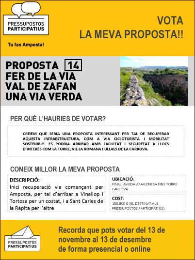 Proposta 14 als pressupostos participatius Amposta: fer la via de Val de Zafan una via verda