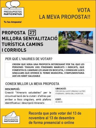 Proposta 27 als pressupostos participatius Amposta: millora senyalització turística de camins i corriols